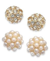 Image of Charter Club Gold-Tone 2-Pc. Set Pavé & Imitation Pearl Fireball Stud Earrings, Created for Macy's