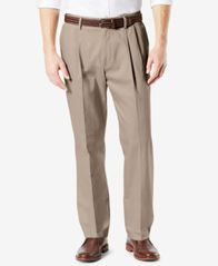 Image of Dockers Men's Signature Lux Cotton Classic Fit Pleated Stretch Khaki Pants