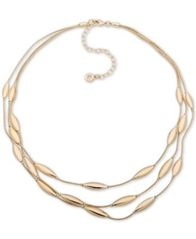 "Image of Anne Klein Gold-Tone Oval Triple-Row Collar Necklace, 16"" + 3"" extender"