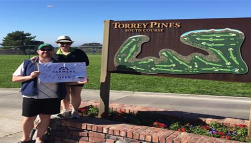 James and Alison at the Farmers® Open at Torrey Pines. We love golf!