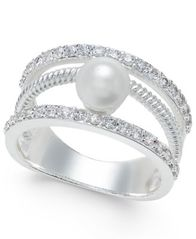 Image of Charter Club Crystal Imitation Pearl Ring, Created for Macy's