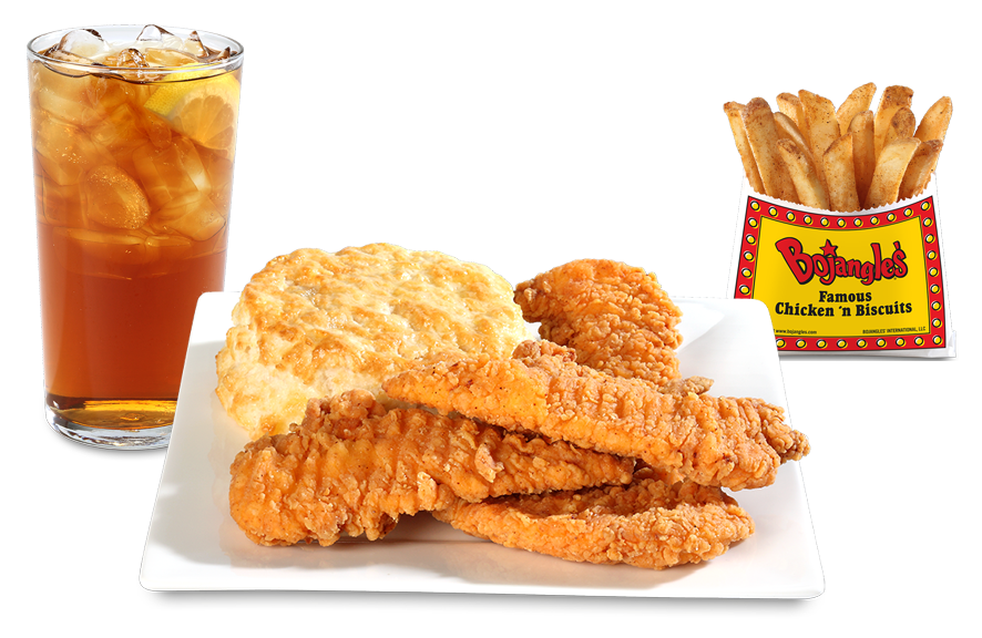 """Four Bojangles' chicken Supremes with a buttermilk biscuit, fries and drink."""