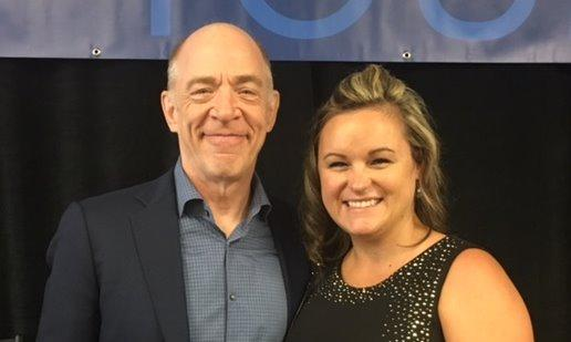 Agent Amy Dryer with actor J.K. Simmons