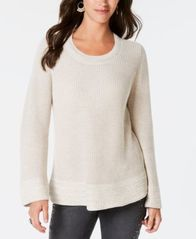 Image of Style & Co Flare-Sleeve Contrast-Border Sweater, Created for Macy's