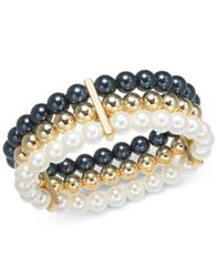 Image of Charter Club Multi-Imitation Pearl Triple-Row Stretch Bracelet, Created for Macy's