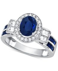 Image of Sapphire (1-1/2 ct. t.w.) & Diamond (3/8 ct. t.w.) Ring in 14k White Gold (Also Available in Emerald