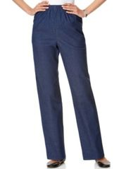 Image of Alfred Dunner Denim Pull-On Straight-Leg Pants