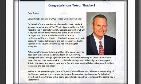 Congratulations to Trevor Thacker for achieving Toppers Club 2016 status!