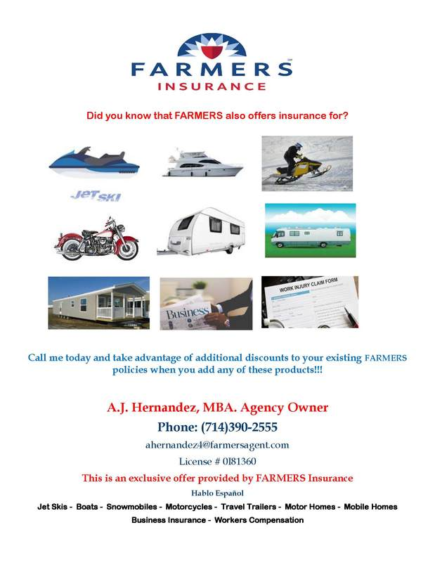 A promotional flyer for specialty insurance from the A.J. Hernandez Agency.