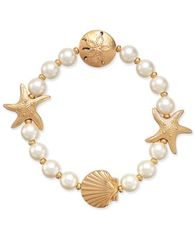 Image of Charter Club Gold-Tone Imitation Pearl Sea Motif Stretch Bracelet, Created for Macy's