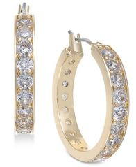 Image of Charter Club Gold-Tone Crystal Hoop Earrings, Created for Macy's