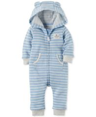 Image of Carter's Hooded Striped Bear Coverall, Baby Boys (0-24 months)
