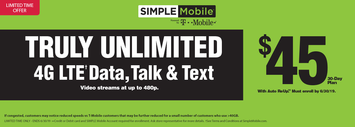 Truly unlimited 4G LTE data, talk & text with SIMPLE Mobile