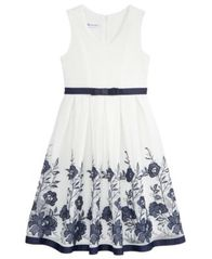 Image of Bonnie Jean Floral Embroidered Mesh Dress, Big Girls