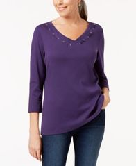 Image of Karen Scott 3/4-Sleeve Cotton Grommet-Detail Top, Created for Macy's