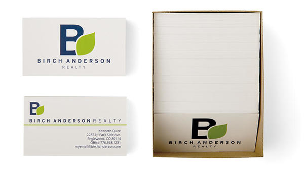 Realty business cards on white background