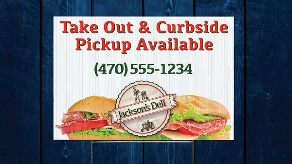 yard signs for takeout and restaurant pickup