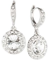 Image of Givenchy Rhodium-Plated Crystal Round Drop Earrings