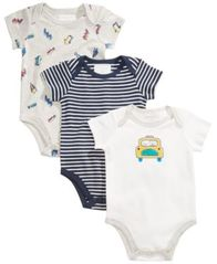 Image of First Impressions 3-Pk. Car Cotton Bodysuits, Baby Boys, Created for Macy's