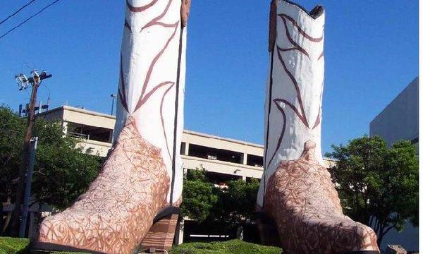 Giant boot statues in downtown San Antonio