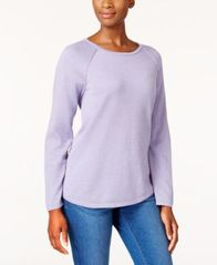Image of Karen Scott Cotton Curved-Hem Sweater, Created for Macy's