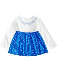 Image of First Impressions Dot-Print Cotton Babydoll Tunic, Baby Girls, Created for Macy's