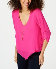 Image of Thalia Sodi Layered Ruched-Sleeve Necklace Top, Created for Macy's