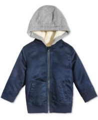 Image of First Impressions Hooded Faux-Suede Bomber Jacket, Baby Boys, Created for Macy's