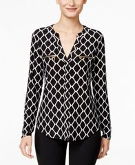 Image of I.N.C. Printed Zip-Detail Top, Created for Macy's