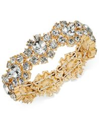 Image of Charter Club Gold-Tone Crystal Flower Stretch Bracelet, Created for Macy's