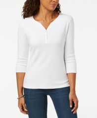 Image of Karen Scott Cotton Henley Top, Created for Macy's