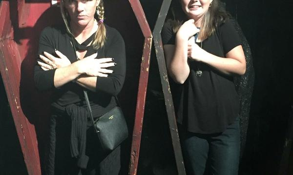 My daughter and I in caskets at the Dark Harbor at the Queen Mary