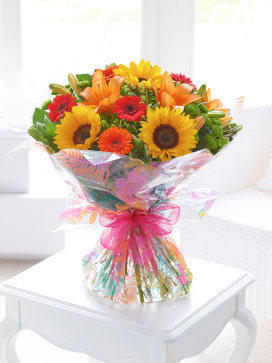 Image of Seasonal Splendour Sunflower and Lily Hand-tiede