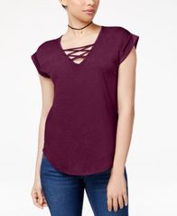 Image of Almost Famous Juniors' High-Low Lace-Up T-Shirt