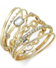 Image of I.N.C. Gold-Tone Crystal Enhanced Multi-Bangle Bracelet, Created for Macy's