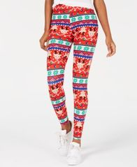 Image of Planet Gold Juniors' Printed Holiday Leggings