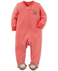 Image of Carter's 1-Pc. Stripes & Monkeys Footed Coverall, Baby Boys (0-24 months)