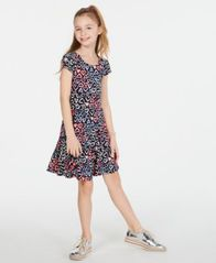 Image of Epic Threads Super Soft Big Girls Heart-Print Fit & Flare Dress, Created for Macy's