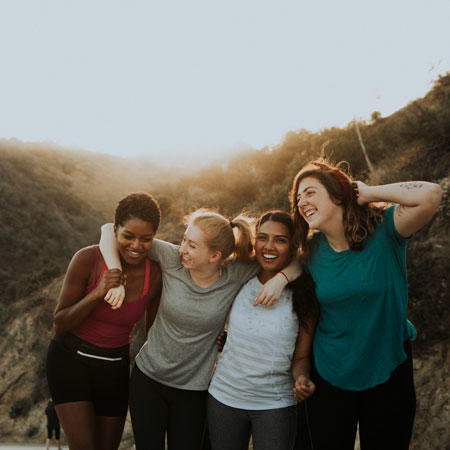 Four women hiking