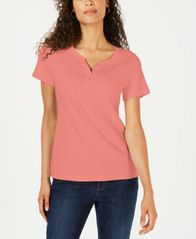 Image of Karen Scott Petite Cotton Henley Top, Created for Macy's