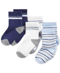 Image of First Impressions Baby Boys 3-Pk. Striped Crew Socks, Created for Macy's
