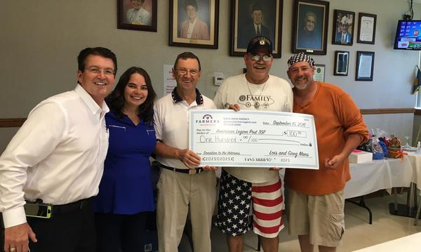 The Greg Mans Agency's donation to the American Legion Post 397