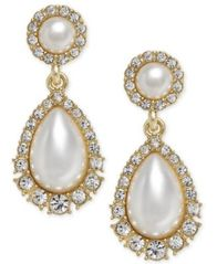 Image of Charter Club Gold-Tone Crystal & Imitation Pearl Drop Earrings, Created for Macy's