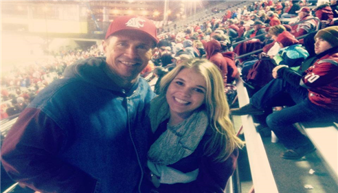My daughter and me at a WSU game!