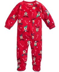 Image of Family Pajamas 1-Pc Reindeer Footed Pajamas, Baby Boys' or Baby Girls' (12-24 months) & Toddler Boys