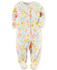 Image of Carter's 1-Pc. Floral-Print Fleece Footed Coverall, Baby Girls (0-24 months)