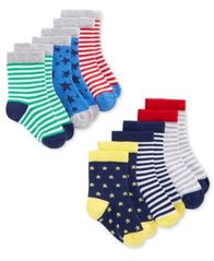 Image of First Impressions 6-Pack Stars & Stripes Crew Socks, Baby Boys, Created for Macy's