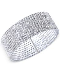 Image of Anne Klein Silver-Tone Crystal Cuff Bracelet