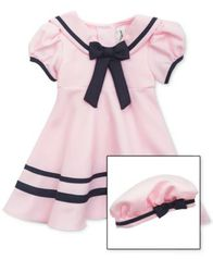 Image of Rare Editions Baby Girls Sailor Dress & Hat Set