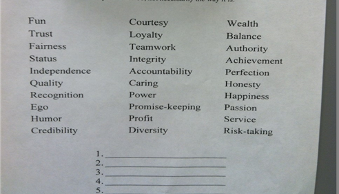 What are your top seven values and rank them in order of importance.